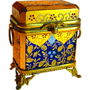 Superb Cobalt & Gold Mini Bohemian Moser Mounted Box or Casket