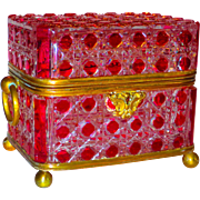 Large Baccarat Cranberry Cut to Clear Bronze Mounted Box or Casket