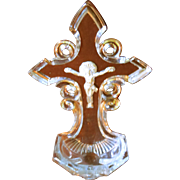 Ca. 1850 Baccarat Sulphide Holy Water Font w/Crucifix