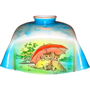 Art Deco Czech Milk Glass Shade w/Cats Under Umbrella for Nursery