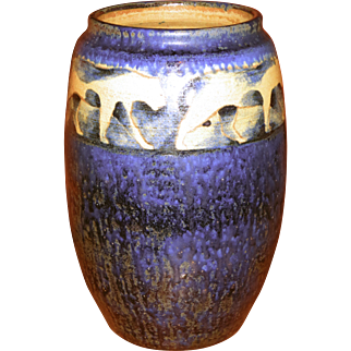 Russell Crook Art Pottery Vase w/Lions or Panthers