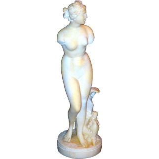 Grand Tour Carved Marble Statue of a Classical Female Figure, Fish, Cherubs