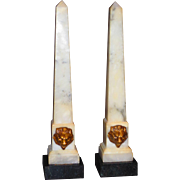 Grand Tour Tall Marble Obelisks w/Lion Masks