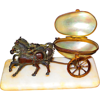 Grand Tour Palais Royale Ring Holder Horses w/Shell Cart on Marble