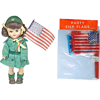Old Store Stock Mini Bisque Doll Sized 4th of July Silk Flags! MIP