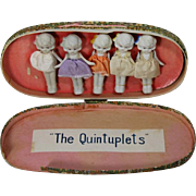 Darling Vintage 1930s All Bisque Dionne Quintuplets Dolls in Box - Japan
