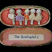 Darling Vintage 1930s All Bisque Dionne Quintuplets Dolls in Box - Japan