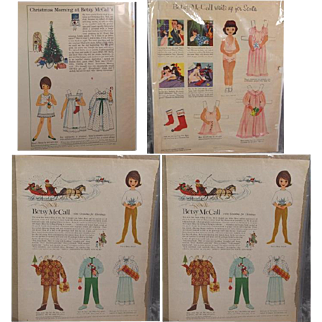 4 Vintage Betsy McCall Paper Dolls!  1953 and 1960s - Christmas Theme