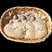 1930s-1940s Caco Triplet Babies in Basket Set