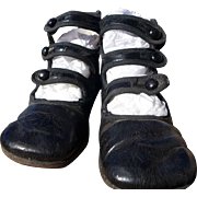 Darling Little Girl's Antique Three Strap Leather Shoes c. 1920