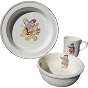 1941 Raggedy Ann Child's Dishes  3 Piece Set Raggedy Ann Ware by Gruelle