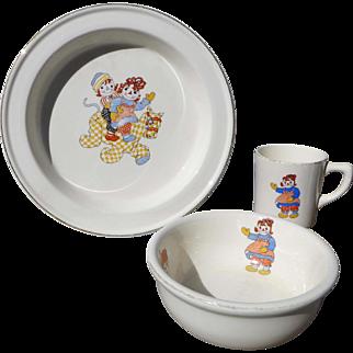 1941 Raggedy Ann Child's Dishes  3 Piece Set Raggedy Ann Ware by Gruelle