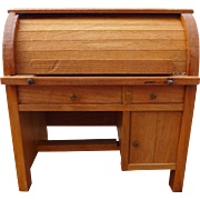 Vintage Doll House Roll Top Desk Opens and Closes