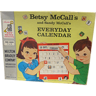 Nr. Mint Betsy and Sandy McCall Boxed Calendar Set 1959 Rare by McCalls/ Milton Bradley