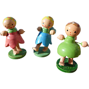 """Set of 3 Vintage Miniature Italian Hand Carved Wooden Hand Painted Angels 1 1/2"""" tall"""