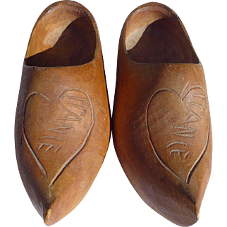 Child's French Vintage Hand Carved Sabots Wooden Shoes