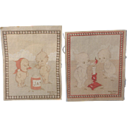 Two Vintage Kewpie Rose O'Neill Flannels Rugs