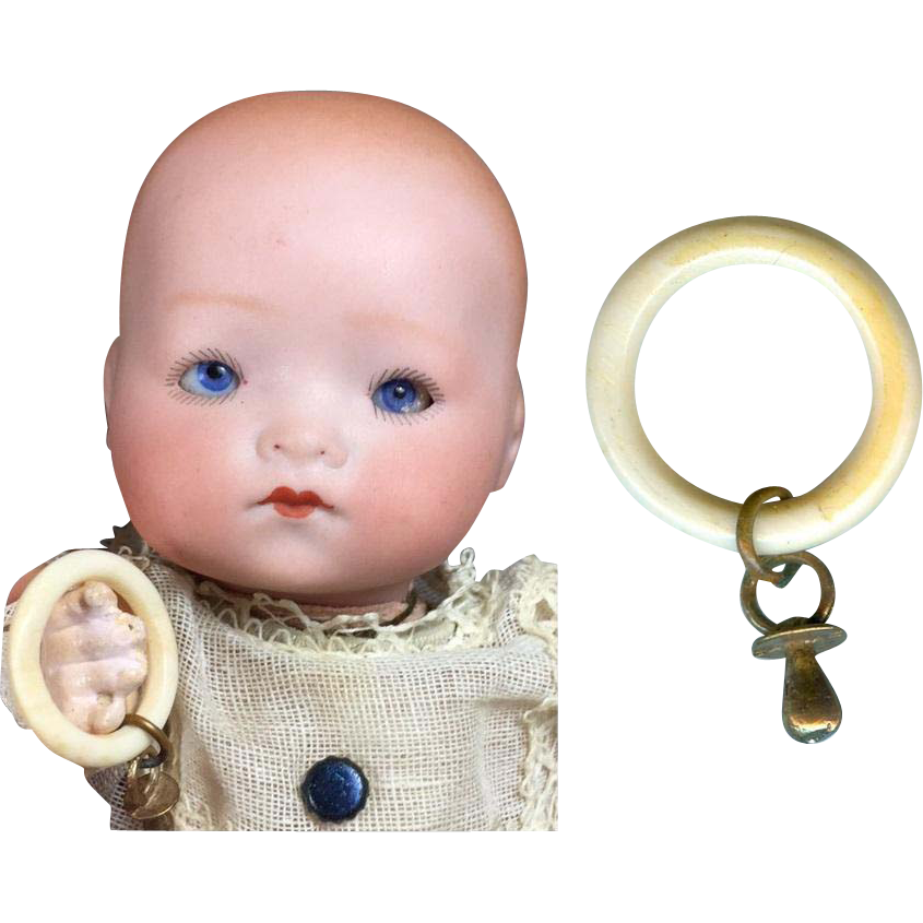 Paris Find! Vintage Mini Doll Baby Rattle Teether w ...