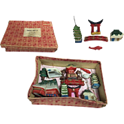 Tiny Doll Sized! Bisque Set Japanese Gardens Orig Box Woolworth's Japan!