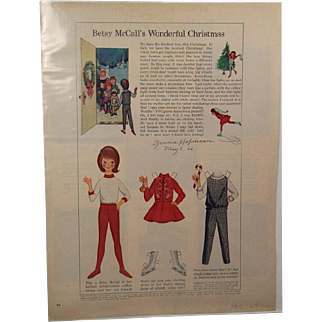 Vintage 1964 Betsy McCall Christmas Paper Doll SIGNED by Orig Artist!