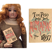 Antique 1897 Mini Almanac for Your French Fashion Doll!