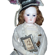 Beautiful Antique French Fashion Doll or Dollhouse Picture of Fashionable Lady in Tin Frame!