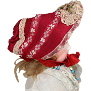 Old Store Stock from SFBJ/Jumeau Factory French Red Doll Bonnet!