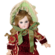 Old Store Stock from SFBJ/Jumeau Factory French Green Bebe Doll Bonnet!