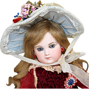 Old Store Stock from SFBJ/Jumeau Factory French Blue Bebe Doll Bonnet!