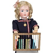 Antique 1910s Mini French Doll Sized Toy Abacus w Glass Beads!