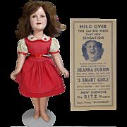Vintage 1930s Ideal Composition Deanna Durbin Doll & Ad!