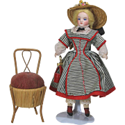 Antique Doll Sized Victorian Chair Pincushion Sewing Novelty!