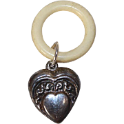 Vintage Sterling Silver Puffy Heart Doll Baby Rattle on Bone Ring!