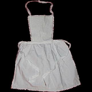 Antique French Sweet Little White Cotton Child's Apron