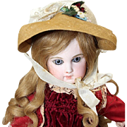 Old Store Stock from SFBJ/Jumeau Factory French Bebe Doll Soft Straw and Lace Hat!