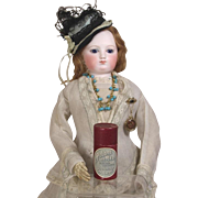 Wonderful Antique French Small Red Powder Box for French Fashion Doll!