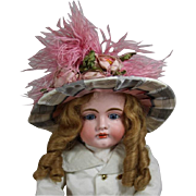 Gorgeous! French Bebe Doll Hat w Flowers, Feathers!