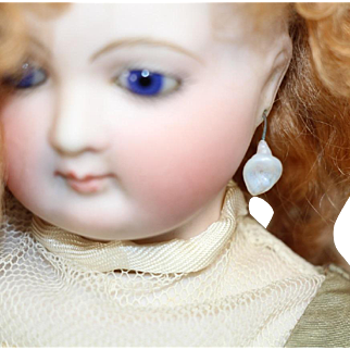 Gorgeous Antique French Fashion Doll Glass Earrings White Color!