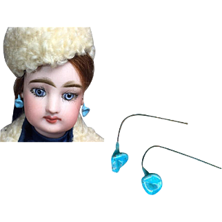 Gorgeous Antique French Fashion Doll Drop Earrings Turquoise Color!