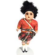 Antique German Bisque Scottish Doll - All Original