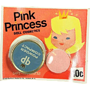 Vintage 1959 Pink Princess Doll Cosmetics Makeup Compact Powder! Old Store Stock