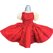 Vintage Tagged Cissette Doll Red Taffeta Dress 1950s