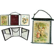 Antique Doll Size Trifold Mirror w Images of Children w Dolls!