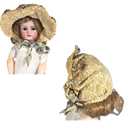 Lovely Bisque Doll Bebe Hat Bonnet!