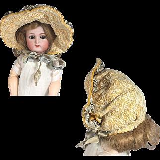 Lovely Bisque Doll Bebe Hat Bonnet!