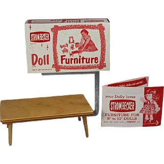 Vintage Ginny Muffie Strombecker Doll Coffee Table in Orig Box - Old Store Stock!