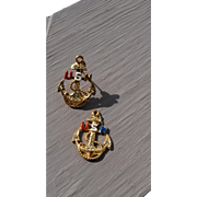 Pair US Navy WWll Homefront Jewelry Pieces: Pin and Pendant
