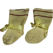 Lovely Antique Doll Socks w Original Bows! Beautiful!