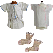 3 Antique Doll Clothes - Two Factory, One Darling Pair of Socks!