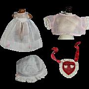 Organdy!  4 Pieces of Organdy Doll Clothes - c1920s-40s Vintage